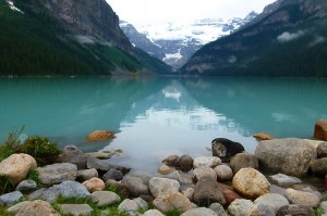 Lake Louise Glacier Blue Water Rocks Ice Snow